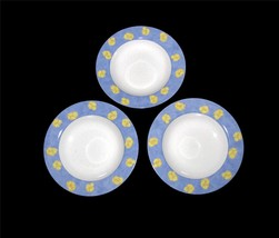 3 Mikasa PANSY BLUE (Yellow Pansies) Wide-Rimmed Soup Bowls DISC Used HT... - $19.99