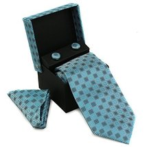 Berlioni Men's Silk Neck Tie Box Set With Cufflinks & Pocket Square (2072 - Ligh
