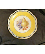 Yellow Reticulated Schumman Fruit Plate Germany 7 5/8th Inches Vintage - $23.99