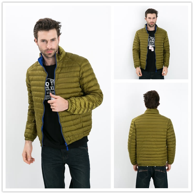 New Mens Winter Coat Down Parkas Solid Color Ultra Light White Duck Down Jacket