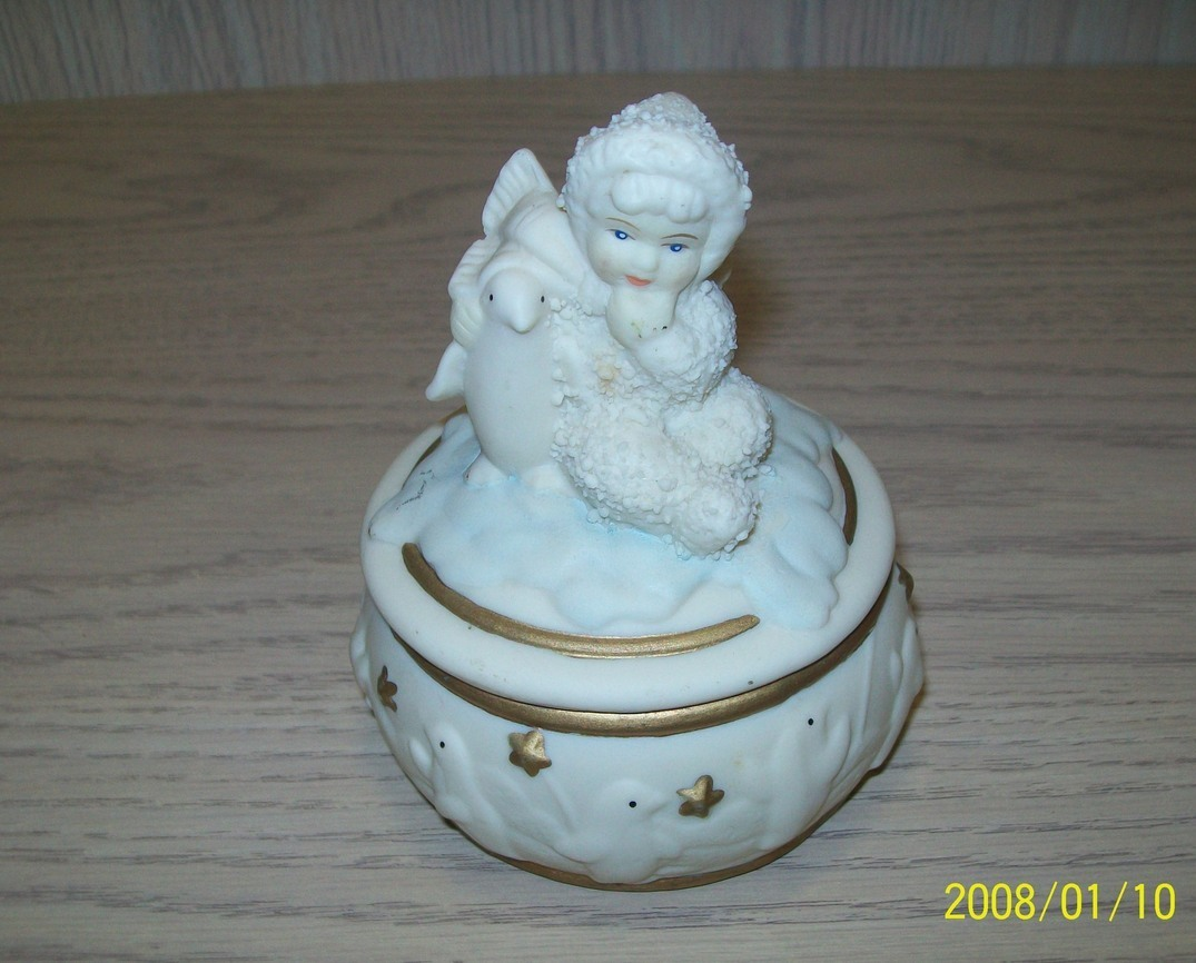 Primary image for Bisque Porcelain Snow Baby Cherub With Penguins Candy Trinket Box