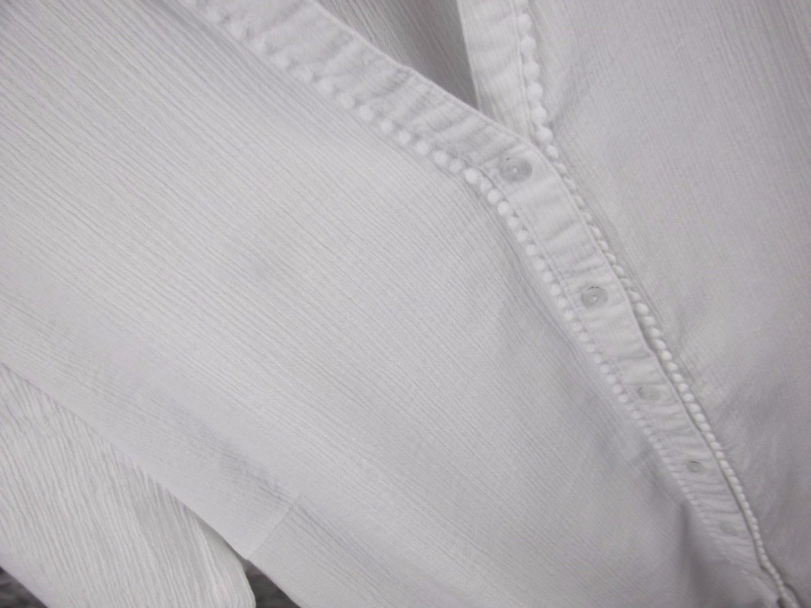 Denim & Co Gauze Shirt Top XL White Short Sleeve Cotton