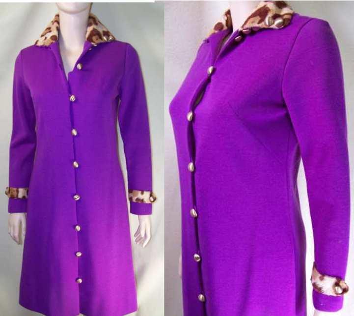 Vintage 60s Bleeker Street purple leopard dress SMall