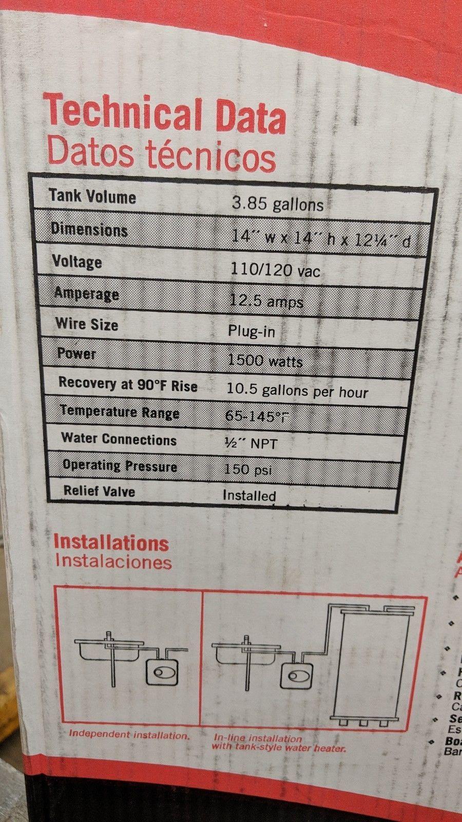 new Ariston GL4 Electric Mini-Tank Water Heater Electric 4 Gallon point of use