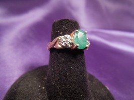 Faceted Emerald & Diamond Heart Design 10K Yellow Gold Ring, Sz 4.5 - $173.25