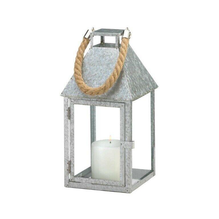 Large Galvanized Iron Farmhouse Style Candle Lantern w/ Glass Panes, Rope Handle