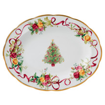 "Royal Albert Old Country Roses Christmas Tree Oval Medium Platter 13"" Ne... - $138.85"