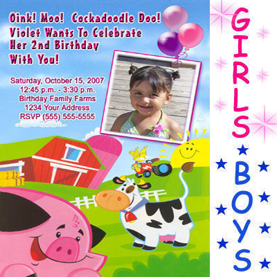 Custom Farm Barnyard Tractor Birthday Party Invitations
