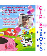 Custom Farm Barnyard Tractor Birthday Party Invitations - $19.99