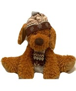 "HugFun International Plush Soft Brown Dog In Snow Hat & Scarf 12"" Snuggl... - $14.13"