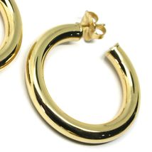 925 STERLING SILVER CIRCLE HOOPS BIG YELLOW EARRINGS, 4 cm x 6 mm SMOOTH image 3