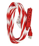 Hyper Tough 25-Foot Candy Cane Striped Extension Cord with 3 Grounded Ou... - $13.00