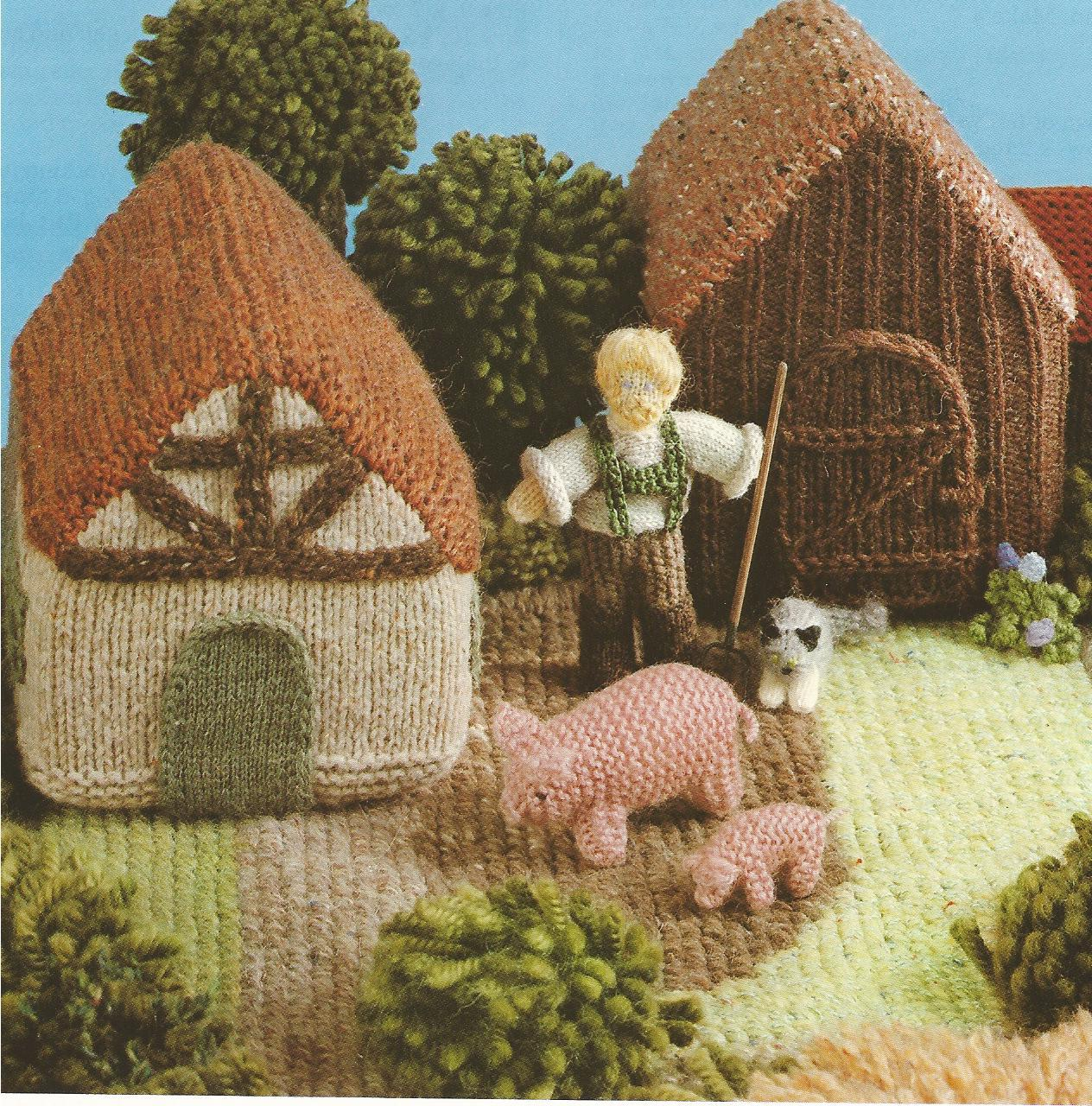REDUCED~The Knitted Farmyard Knitting Pattern Leaflet~RARE~HTF