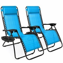 Set of 2 Adjustable Zero Gravity Lounge Chair Recliners Pool Patio Moder... - $103.98