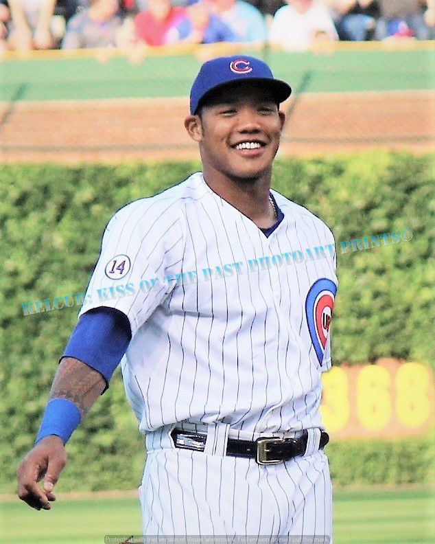Primary image for Chicago Cubs Addison Russell Original Game Action Pic Addy LOL Various Sizes