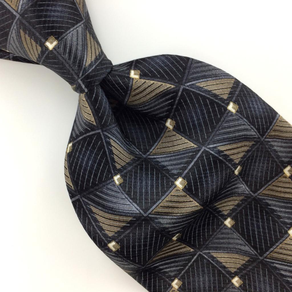 cfa0cc00915f GEOFFREY BEENE Tie STRIPED SQUARES Gray Black Silk Necktie Excellent Ties  I5-5