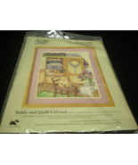 "SOMETHING SPECIAL COUNTED CROSS STITCH KIT.  ""TEDDY AND QUILT CABINET"". ... - $9.99"