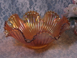Westmoreland Smooth Rays Carnival Glass Compote Bowl - $29.99