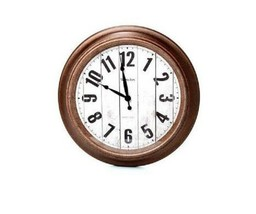 "Wood Face 15.5"" Large Wall Round Wall Clock, Large Numbers, Quartz - NEW - $34.63"