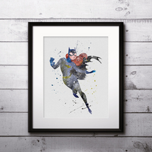Superhero Batgirl Print Nursery, buy Poster, buy Watercolor Painting, bu... - $3.50