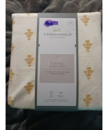Printed Gold Flower Fall Twin Flannel Sheet Set Threshold New in Package - $29.65