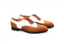 Handmade Men's Brown & White Wing Tip Brogues Dress Oxford Suede Shoes image 3