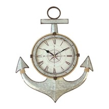 """24"""" High Anchor Wall Clock with Rope Accents Silver Metal Nautical Boat Cottage"""
