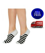 Charter Club Fuzzy Cozy Socks Black/Gray Striped Liners - NWT - $6.80