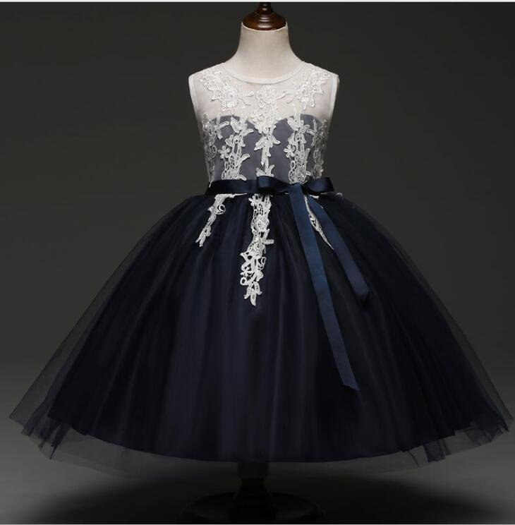 Newly Navy Blue Lace Party Dress For Little Girls Flower Dresses Formal Gowns