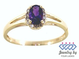 Amethyst Birthstone 14K Yellow Gold 0.44CT Real Natural Halo Diamond Ring - $196.73