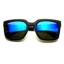 Horned Rim Block Hipster Flash Mirror Thick Keyhole Sunglasses - £6.09 GBP