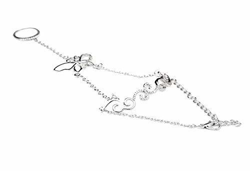 Fashion Personality Bracelet Jewelry Finger Rings And Chains, Silver Butterfly