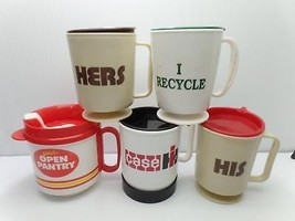 Travel Plastic Cups Mugs Lot 5 Lids Case IH Construction His Hers Recycl... - $29.99