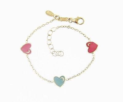 18 KT YELLOW GOLD BRACELET FOR KIDS WITH COLORED HEART LOVE MADE IN ITALY 5.5 IN