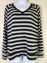 Velvet by Graham & Spencer Women Size S Gray Striped Blouse Long Sleeve ... - $23.76