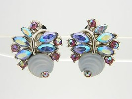 VTG CROWN TRIFARI Silver Tone Frosted Poured Glass Flower Rhinestone Earrings - $123.75
