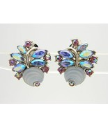 VTG CROWN TRIFARI Silver Tone Frosted Poured Glass Flower Rhinestone Ear... - $123.75