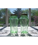 Hazel Atlas Deco Green Depression Glass Icicle Shakers - $18.00