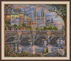 Cross Stitch Kit Hand Embroidery Landscape City Paris On the banks of th... - $49.00