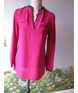 Tory Burch Royal Fuchsia Tamara Silk Tunic Top Blouse Size 2 New with Ti... - $117.81