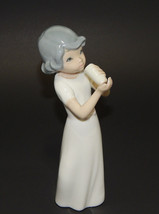 """Casades Spain Fine Porcelain Girl Drinking From Glass Figurine 7"""" - $19.99"""