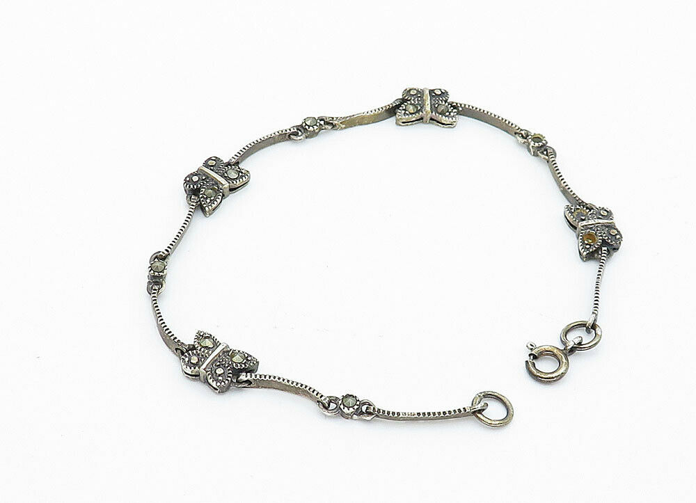 925 Sterling Silver - Vintage Marcasite Butterfly Link Chain Bracelet - B5950
