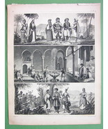 NORTH AFRICA Natives Algeria Cairo People - SUPERB Antique Print - $13.77