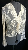 EXPRESS  Top Blouse 7/8 Nylon YES Its see through Lacy Sexy Fun Bust 35 ... - $18.50