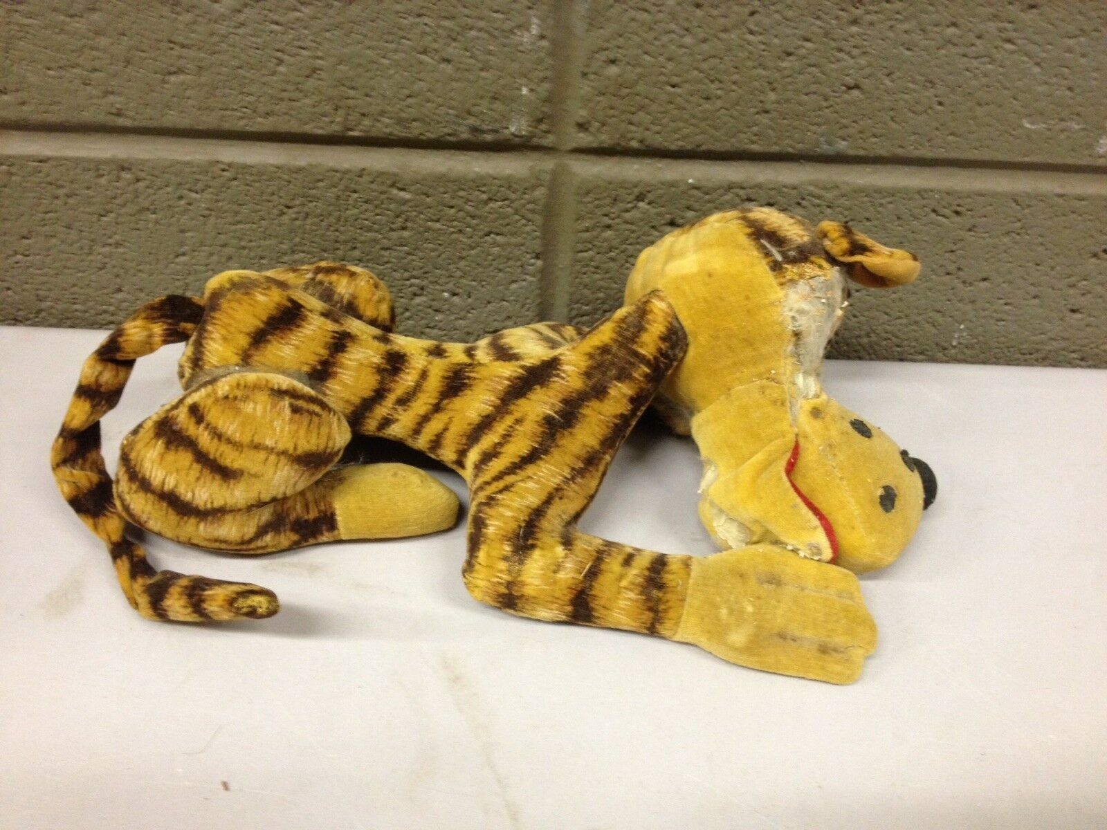 1950s Excelsior Sawdust Stuffed Tiger Lion Cat Animal Mohair (a223) - $19.80