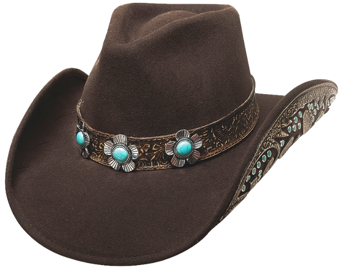 Primary image for Bullhide Sweet Emotion Wool Cowgirl Hat Floral Conchos Turquoise Stones Brown
