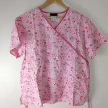Scrub Top Pink Hearts Flowers Valentine's Day Two Pocket Large - $13.86