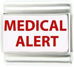 Red Medical Alert Link For 9mm Italian Charm ID Bracelets - $7.87