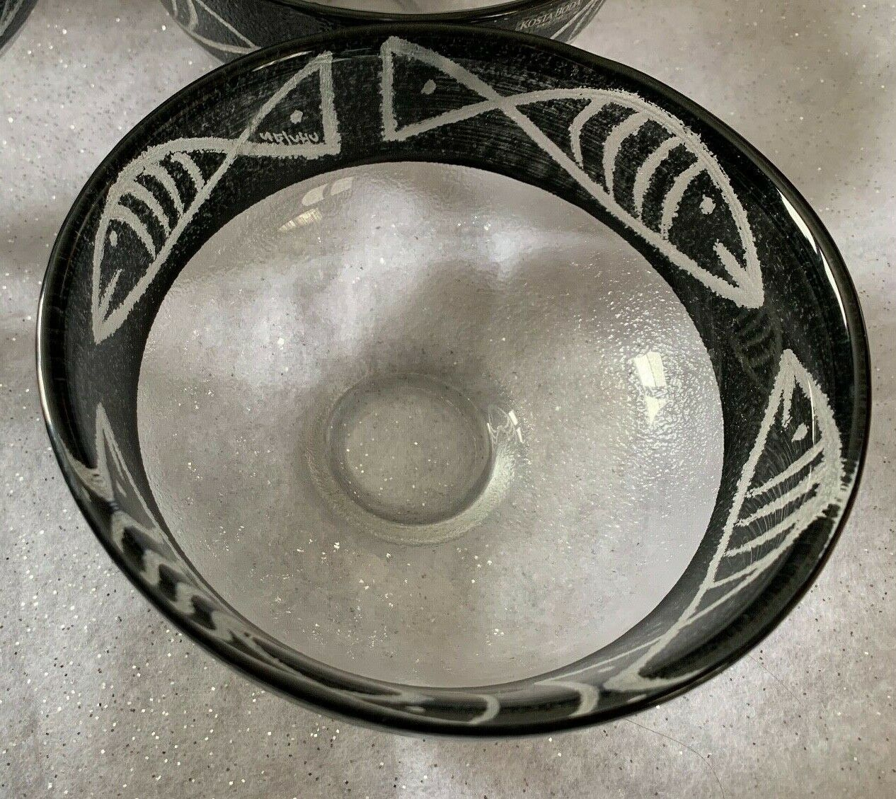 Primary image for Kosta Boda Ulrica Hydman Signed Hand Painted Glass Bowl Caramba Black Clear Fish