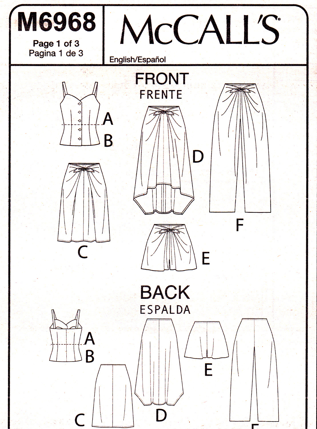 McCall's M6968 Womens Misses Tops Skirts Shorts Pants Sewing Pattern Sizes 14-22
